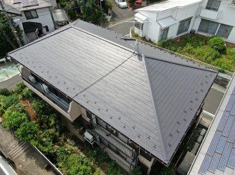 屋根重ね葺き/破風板金・雨樋交換工事